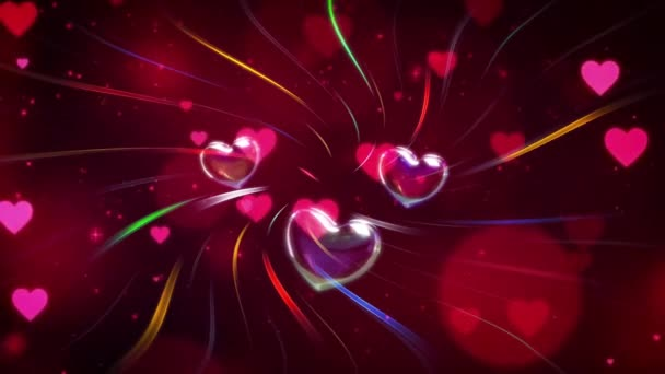 Valentines Day Greeting 4K Animation. Beautiful Heart and Love background 3d Seamless footage.Romantic colorful Glitter flying hearts. Animated background for Romance, love, marriage, valentines day.