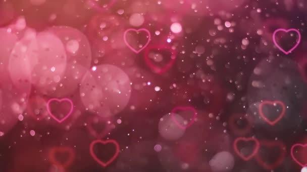 Valentin napi köszöntés 4K Animáció. Gyönyörű szív és szeretet háttér 3d zökkenőmentes kép.Romantikus színes csillogó repülő szív. Szerelem háttér a romantika, szerelem, házasság, Valentin nap.