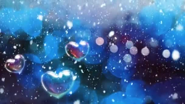 Valentines Day Greeting 4K Animation. Beautiful Heart and Love background 3d Seamless footage.Romantic colorful Glitter flying hearts. Love background for Romance, love, marriage, valentines day.