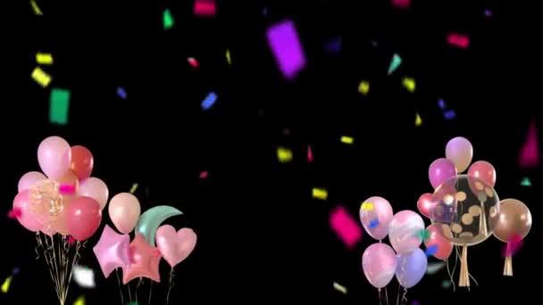 Narozeniny Pozdrav a Confetti Falling na černém pozadí 4K Animace. Narozeninová párty, barevné konfety a dárky taneční pozadí.