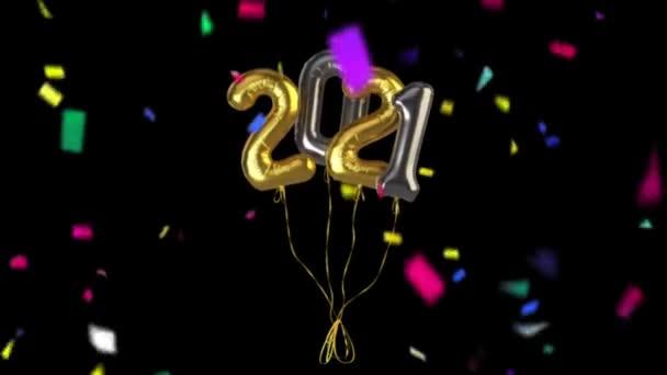 Boldog Új Évet Üdvözlet Confetti Falling fekete háttér 4K Animation. Újévi háttér