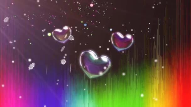 Valentin napi köszöntés 4K Animáció. Gyönyörű szív és szeretet háttér 3d zökkenőmentes kép.Romantikus színes csillogó repülő szív. Animált háttér a romantika, szerelem, házasság, Valentin nap.