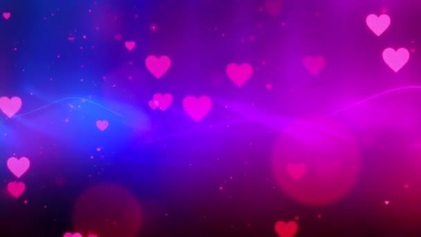 Schöne Herzen und Liebe auf buntem Hintergrund 3D Animation Footage 4K- Romantische bunte fliegende Herzen. Animierter Hintergrund für Romantik, Liebe, Geburtstagswünsche und Valentinstag.