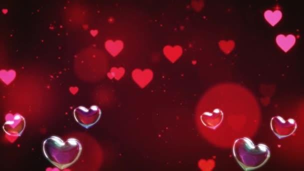 Krásné srdce a láska na barevném pozadí 3D animace záběry 4K - romantické barevné létající srdce. Animované pozadí pro Romance, Láska, Výročí přání a Valentýna.