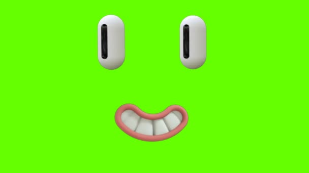 Funny Cartoon Face Reaction with eyes and mouth on green screen background. Facial Expressions 4K Animation. Different expressions and emotions: smile, angry, laugh, surprised. 3D Animations.