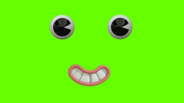 Vicces Rajzfilm Arc Reakció a szem és a száj a zöld képernyő háttér. Arckifejezések 4K Animation. Különböző kifejezések és érzelmek: mosoly, harag, nevetés, meglepett. 3D animációk.