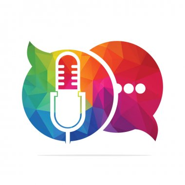 Podcast talk vector logo design. Chat logo design combined with podcast mic. icon
