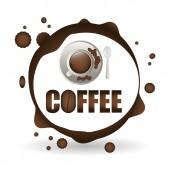 Kávy design. snídaně conceptl. bílé pozadí