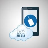 Sociální media design. Smartphone ikona. síťový koncept