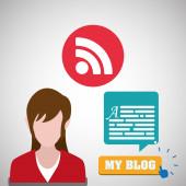 Blogování konstrukce. sociální media ikony. Izolované ilustrace