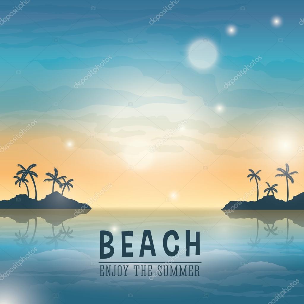 ビーチ デザイン 夏のアイコン カラフルなイラスト ベクトル