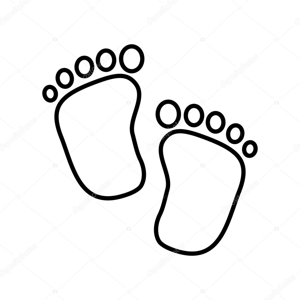 Baby Kid Design Foot Print Icon Isolated Image Vector Graphic