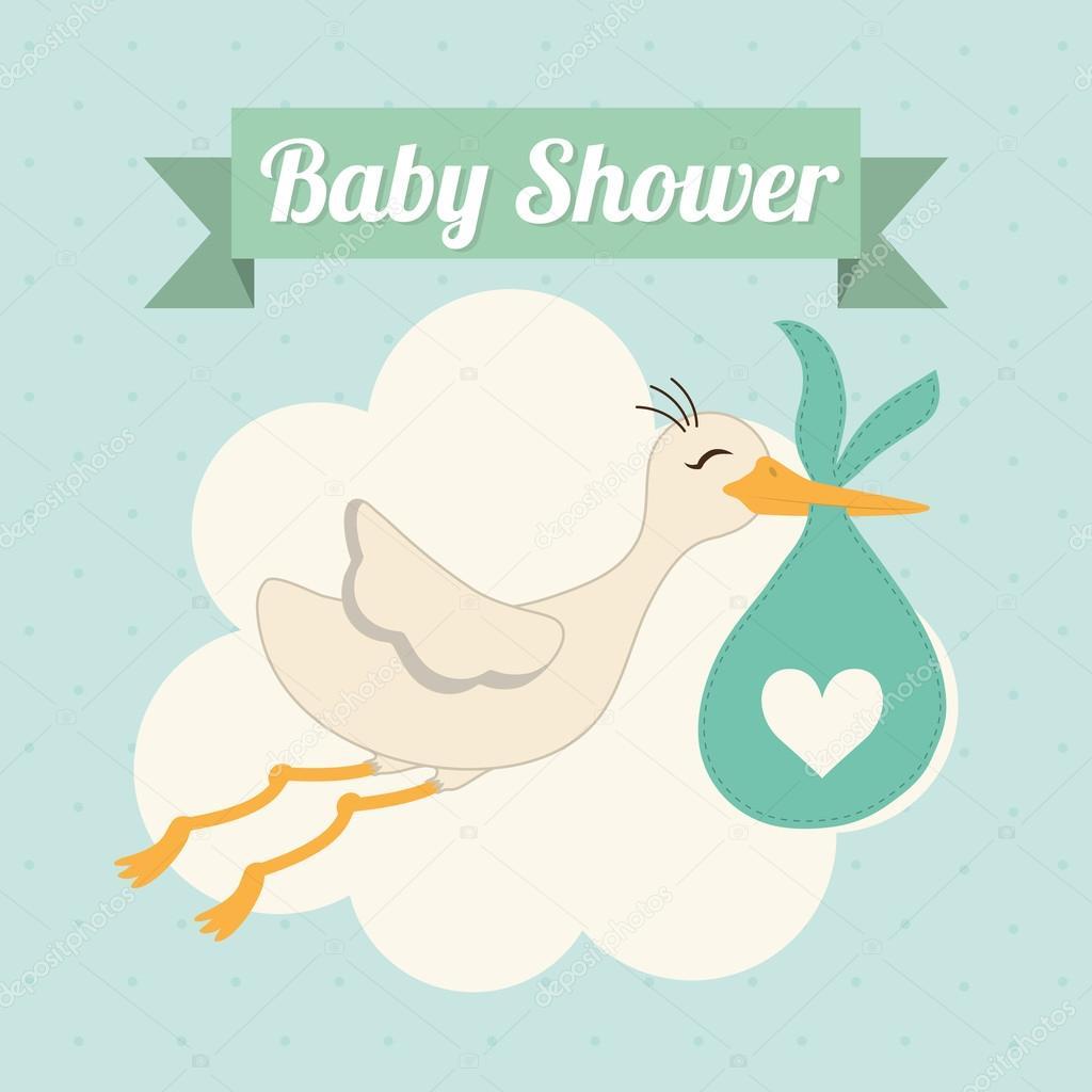 Baby Shower. Cigüeña. Diseño De Pastel. Gráfico Vectorial U2014 Archivo  Imágenes Vectoriales