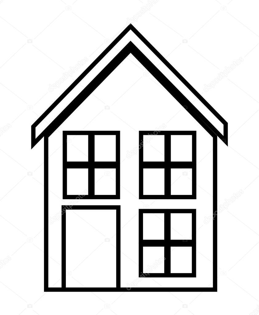 Fam lia em casa casa com porta e janelas desenho de for Casa disegno