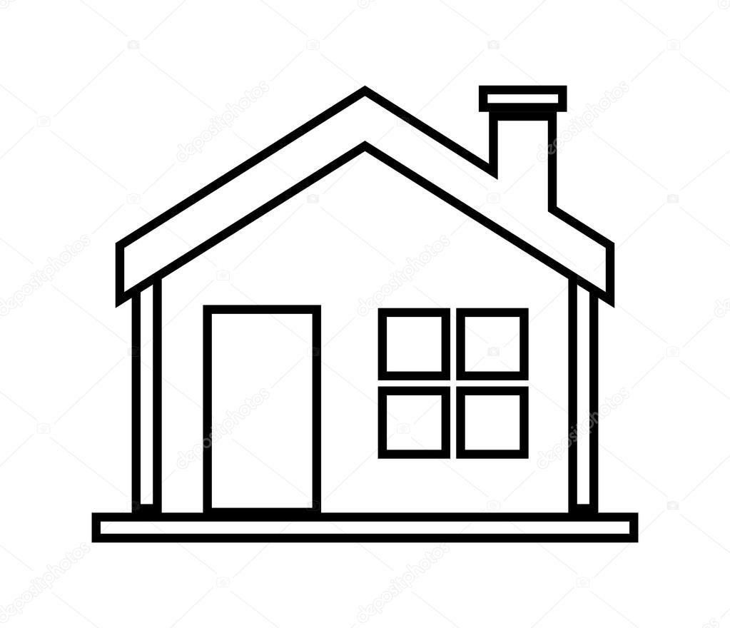 Fam lia em casa casa com porta e janelas desenho de for Fotos de casas modernas para imprimir