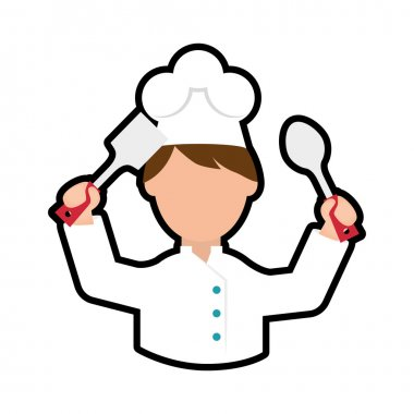 Chef cartoon icon. Cooking and Menu design. Vector graphic