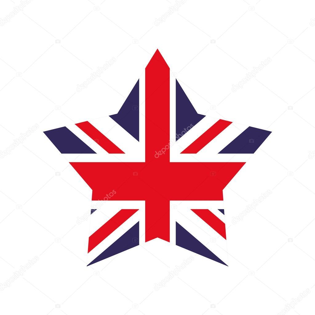 Icono de forma de bandera y estrella. Diseño de Reino Unido. Gráfico ...