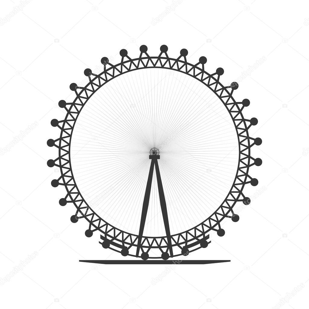 London Eye Icon United Kingdom Design Vector Graphic Stock