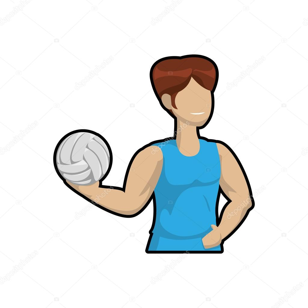 Volejbal A Kreslene Chlapce Ikona Sport Koncept Vektorove Grafiky