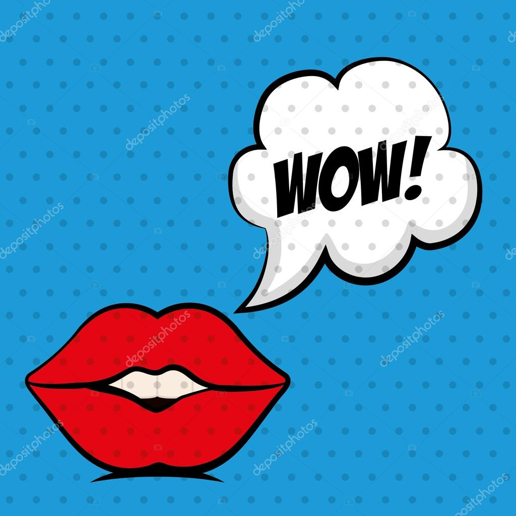 Female Mouth Icon Pop Art Design Vector Graphic Stock Vector