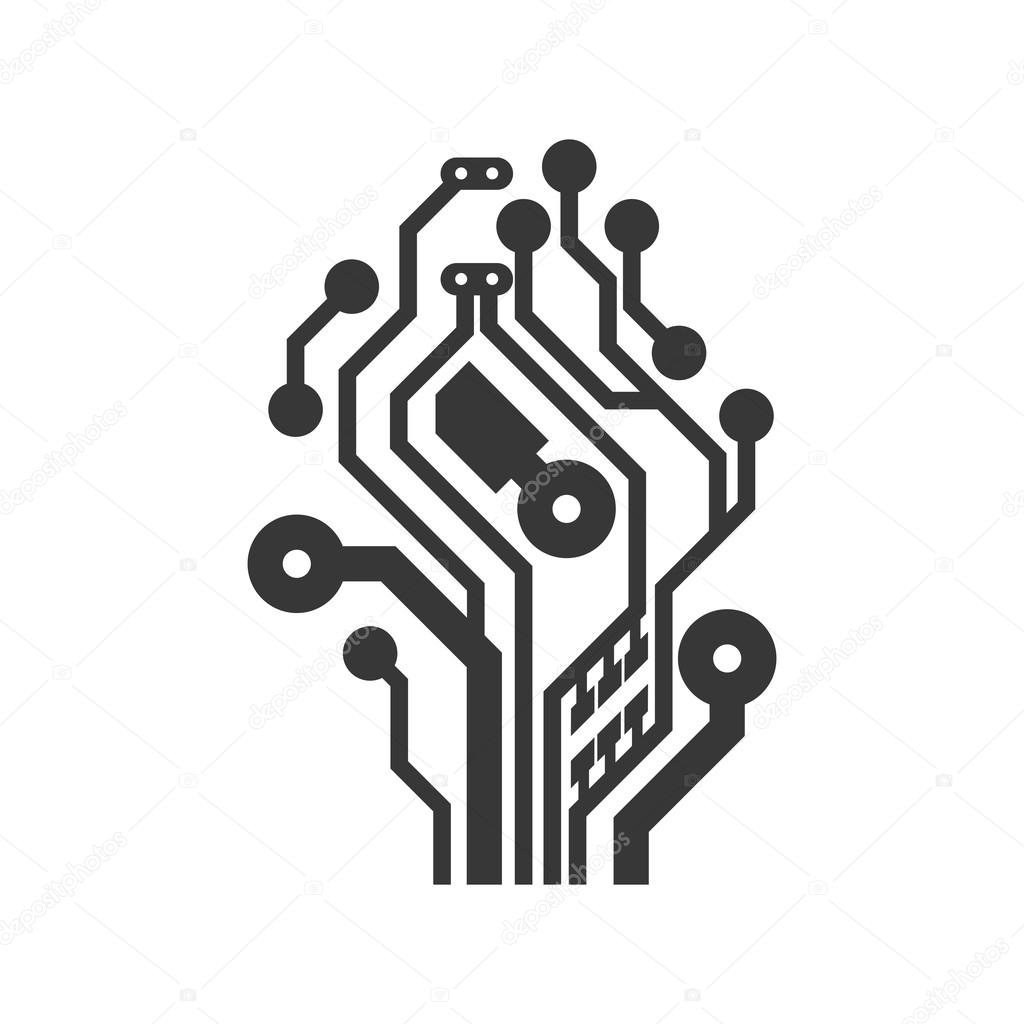 circuit board icon  technology design  vector graphic  u2014 stock vector  u00a9 djv  116510444
