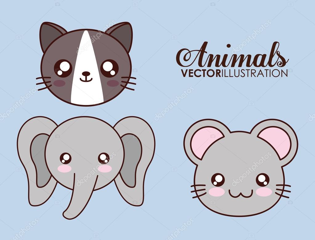 Kawaii cat, elephant and mouse icon  Vector graphic — Stock Vector