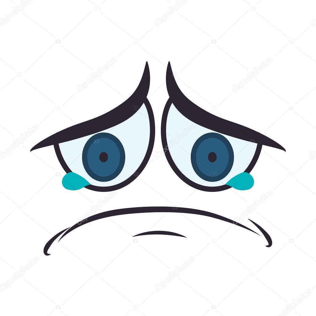 Populares ícone de desenho animado expressão face olhos tristes. Gráfico de  QY01