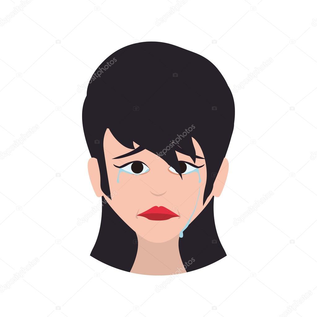 Icone De Dessin Anime Visage Femme Triste Expression Illustration
