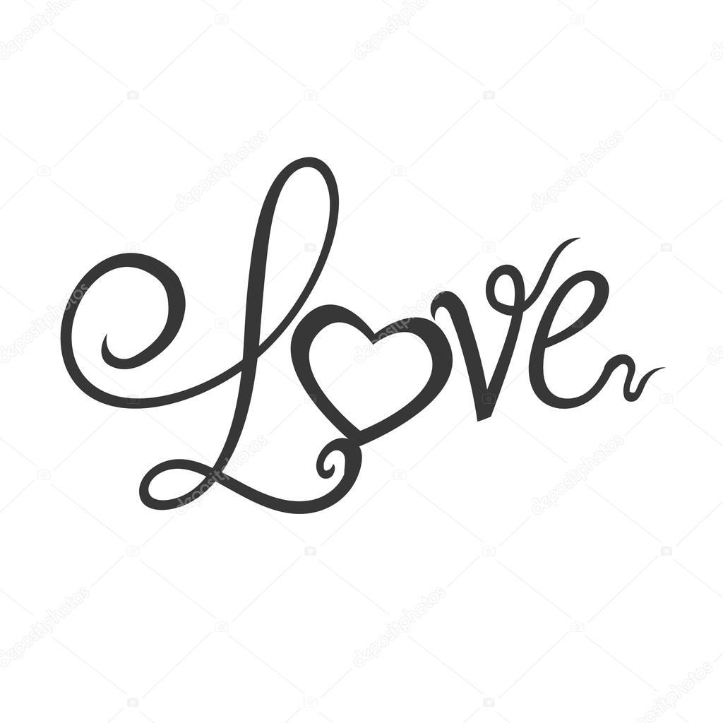Herz Text Liebe Form Brief Symbol Vektorgrafik Stockvektor Djv