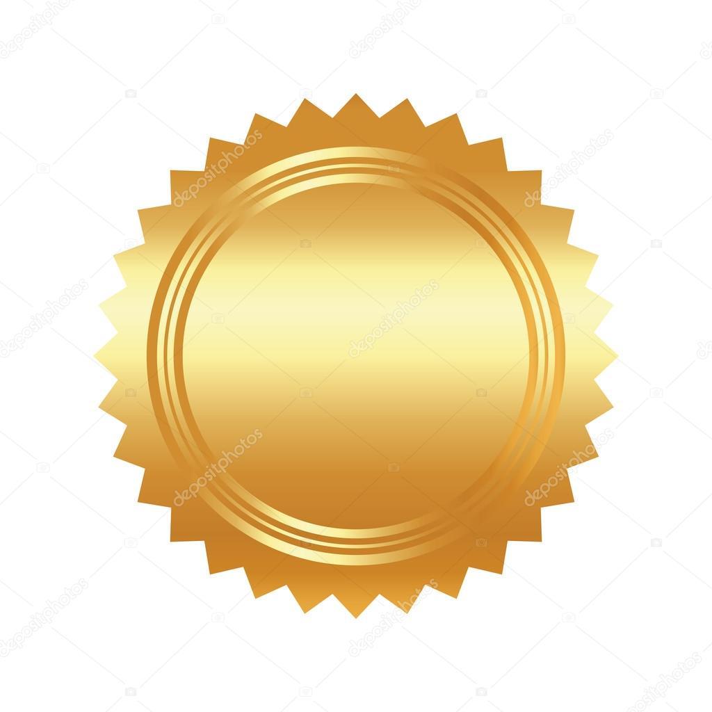 Golden Elegant Logo Flat Style: Seal Stamp Gold Luxury Elegant Con. Vector Graphic Stock