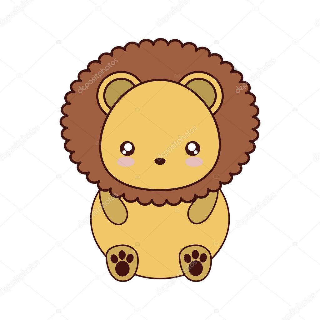 ライオンかわいいかわいい動物アイコン — ストックベクター © djv #119815982