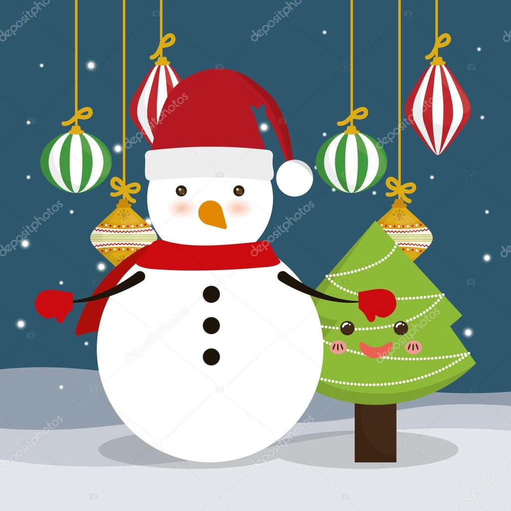 Pine Tree And Snowman Cartoon Of Chistmas Design Stock Vector