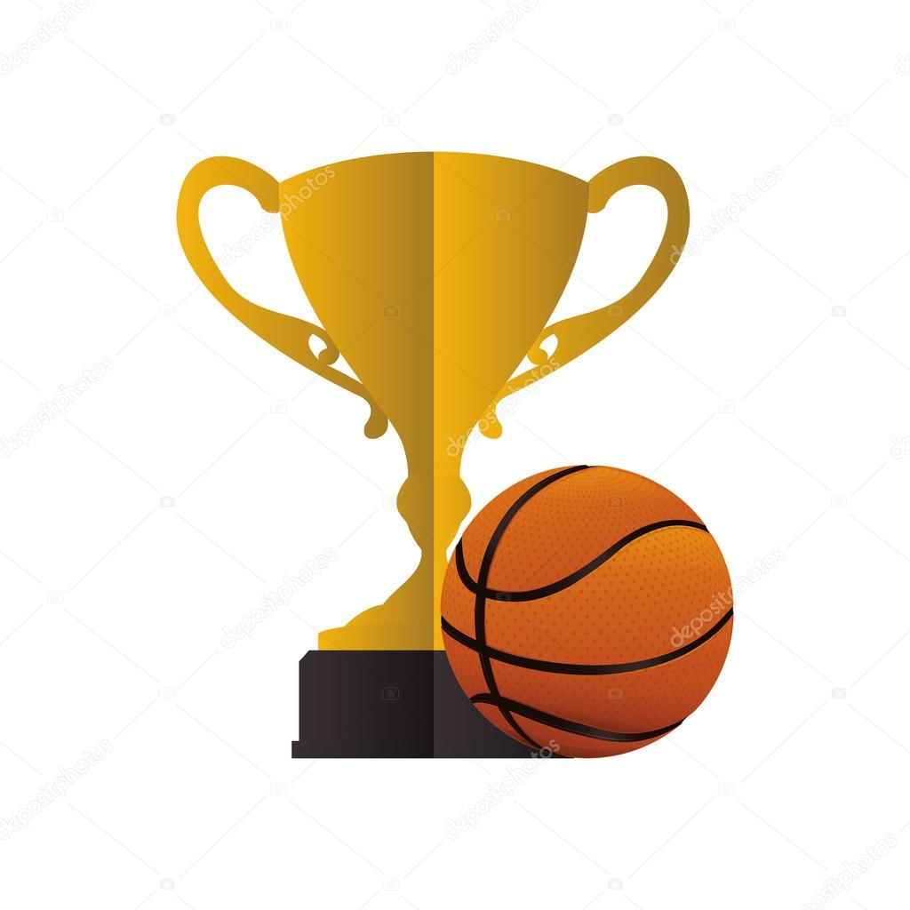 Gold Trophy And Basketball Design Stock Vector