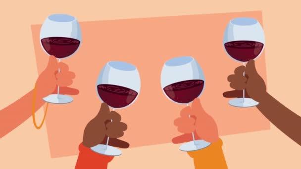 ruce lidé tousty s poháry vína