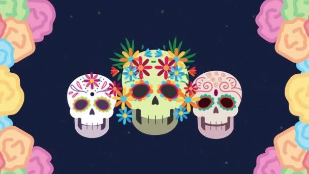 dia de los muertos Animation mit Totenköpfen und Blumenrahmen