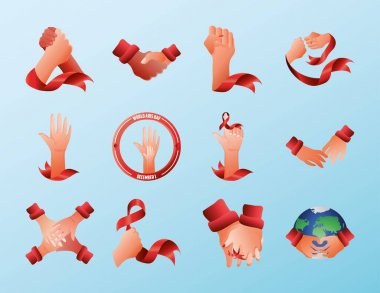 World aids day, pack icons with hands awareness ribbon and planet vector illustration icon