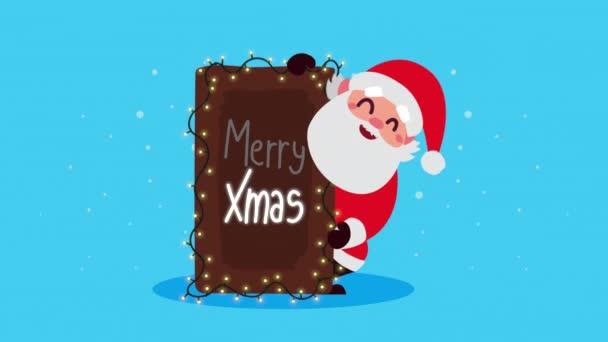Frohe Weihnachten Animation mit Weihnachtsmann und Etikett