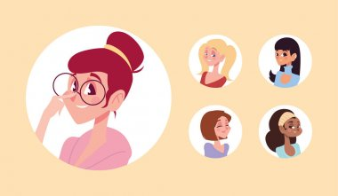 Women characters avatar in cartoon round icon collection vector illustration icon