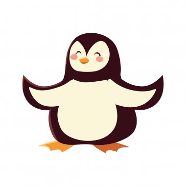 Cute penguin cartoon icon isolated design vector illustration icon