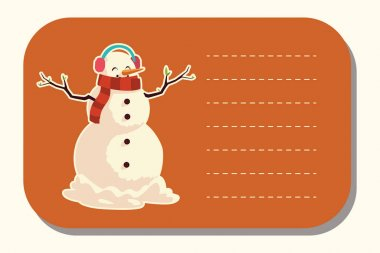 Merry christmas snowman with earmuffs sticker vector illustration icon