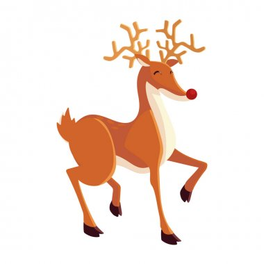 Christmas cute reindeer animal cartoon icon isolated design vector illustration icon