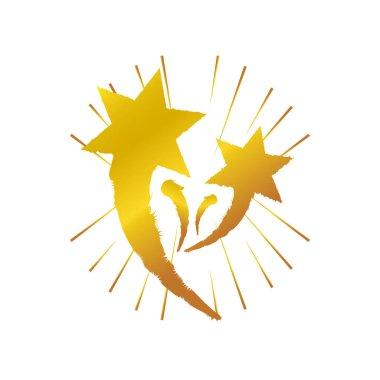 Golden stars explosion celebration on white background vector illustration icon