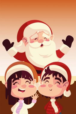 Merry christmas santa claus with girl and boy celebration vector illustration icon