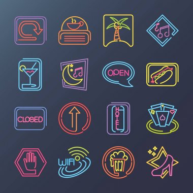 Neon signs pack icons with fast food restaurant, bar music and more vector illustration icon