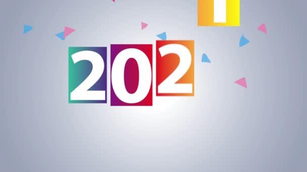 Frohes neues Jahr 2021 mit bunten Zahlen und Konfetti