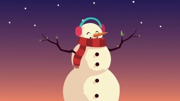 Boldog karácsonyt animáció hóemberrel