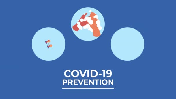 covid19 pandemic prevention methods and lettering animation