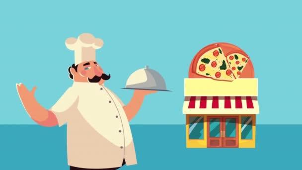 italský kuchař s animací zásobníku serveru