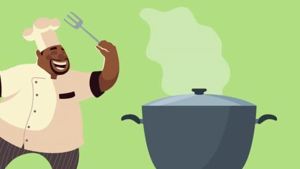 afro szakács dolgozó pot képregény karakter animáció