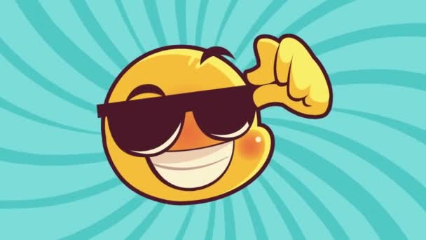 cute emoticon with sunglasses face character animation